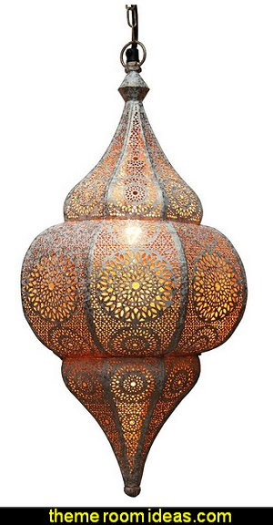 Distressed White and Gold Moroccan Style Cut-Out Hanging Lantern Pendant Ceiling Light Fixture