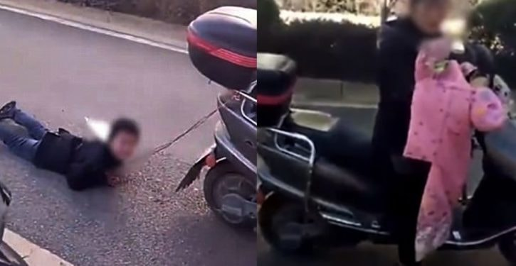 This mother ties her son behind a scooter and drags him to teach him a lesson