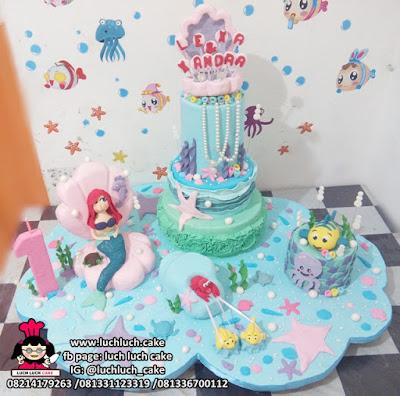 Kue Tart Tingkat Princess Ariel - Mermaid