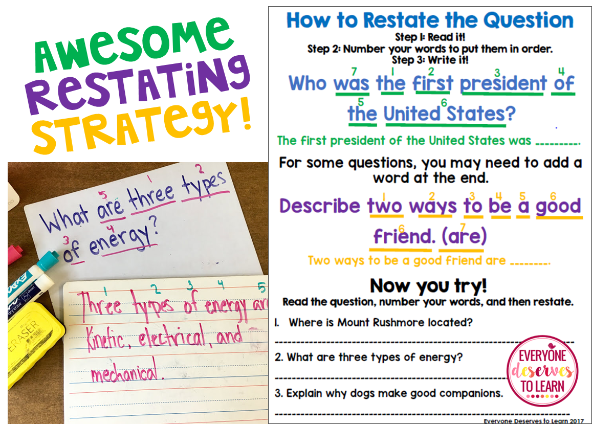 Teach Students How To Restate The Question