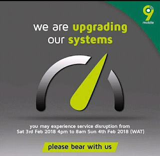 Update: 9mobile Nigeria To Upgrade Thier Systems Between 4pm Today.