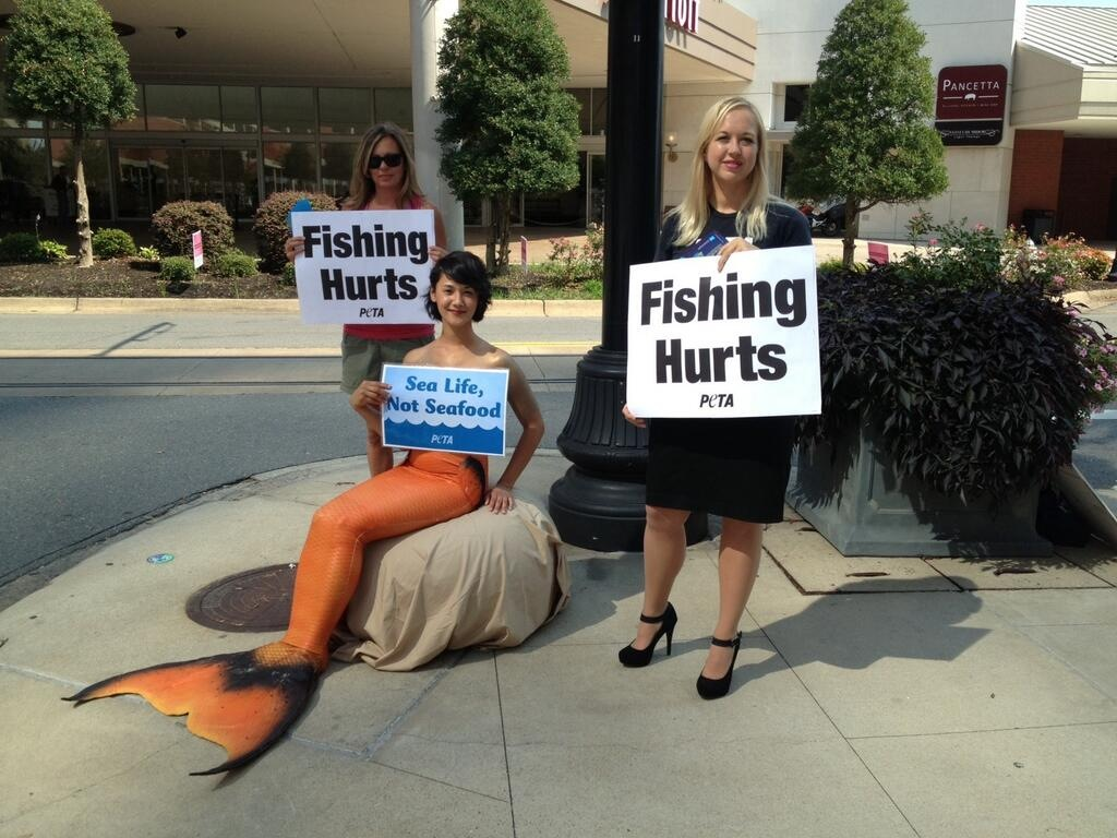 PETA protests with nearly-naked mermaid in Little Rock