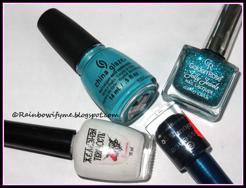 China Glaze: What I Like About Blue; Golden Rose Jolly Jewels #078(?); Essence: Hard To Resist; El Corazón Iron Hard #418/1