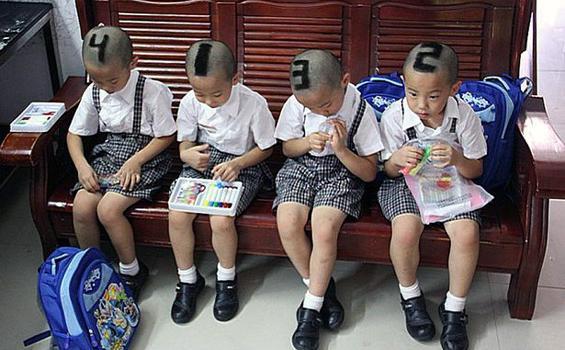 Empat Anak Kembar Ini Dibedakan dengan Angka di Kepala
