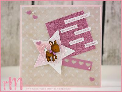 """Stampin' Up! rosa Mädchen Kulmbach: Babykarte mit Bambi aus """"Zum Nachwuchs"""", Stern, Glitzerpapier, Viel-schichtig und Herzbordüre"""