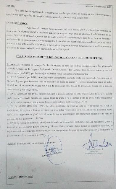 Disposición N° 24/17: Autorización de pago a la empresa Maldonado Osvaldo Alfredo por trabajos realizados en EP 32, EP 24 y EP 1