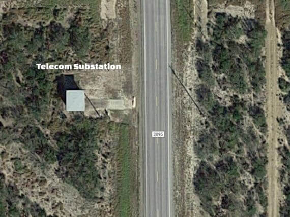 Satellite image of telecom substation