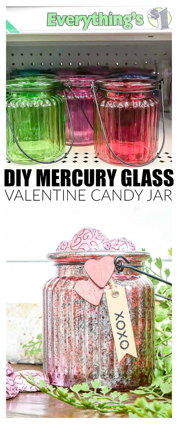 DIY Dollar Tree Mercury glass candy jar