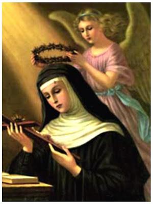 Santa Rita Sosteniendo un Crucifijo y un Angel que sostiene la Corona de Espinas sobre su Cabeza