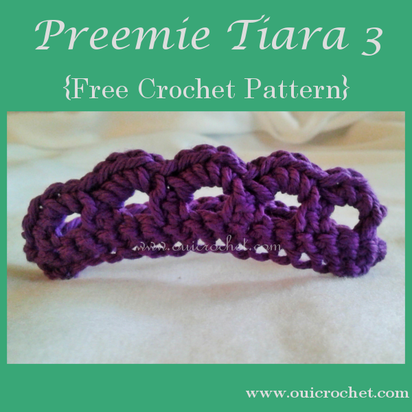 Crochet, Crochet for Charity, Crochet for NICU Babies, Crochet for Preemies, Crochet Preemie Tiara, Crochet Preemie Tiara Headband, Crochet Tiara, Free Crochet Pattern, Preemie Tiara