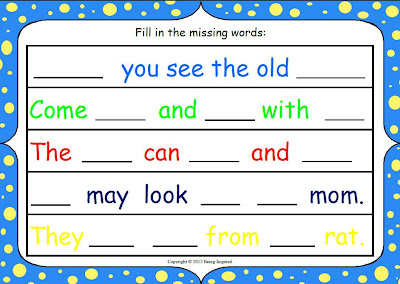 Fill in the missing words - sentence building worksheet