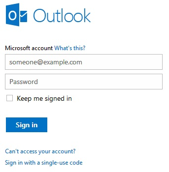 Outlook.com login Page