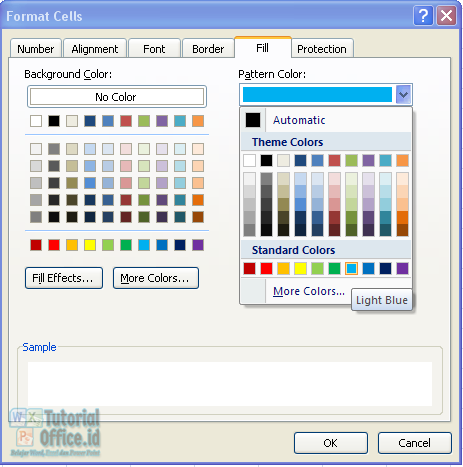 Pattern color microsoft excel