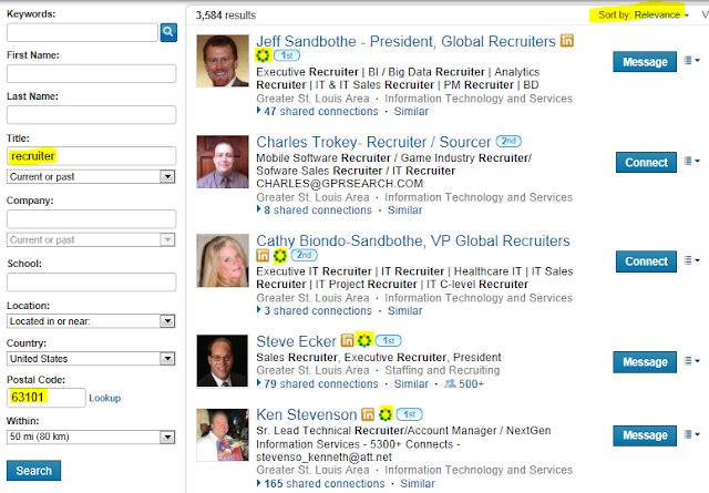 LinkedIn advanced people search, find recruiters on LinkedIn, find local recruiters on LinkedIn,