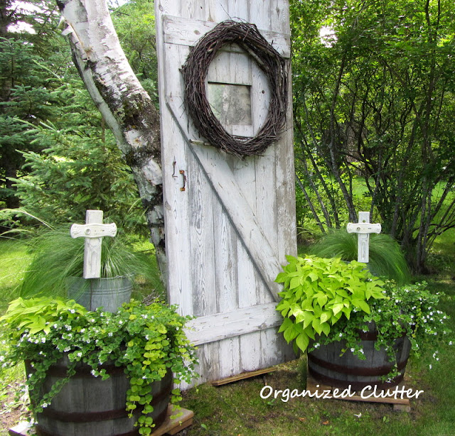 Old Barn Door, Shabby Crosses and Neutral Plants