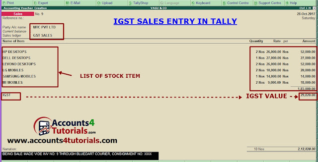 how to enter igst sales transaction in tally