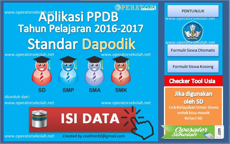 Aplikasi PPDB - PSB Standar Dapodik Tahun Pelajaran 2016-2017 Semua Jenjang Pendidikan