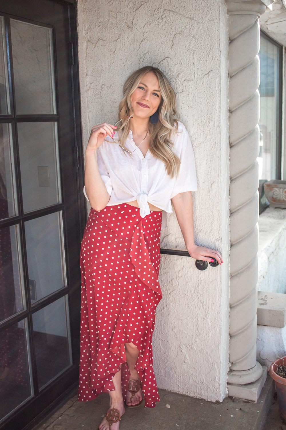 polka dot skirt and button down shirt