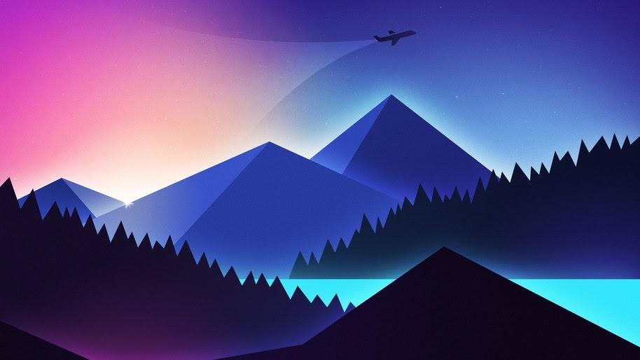 Mountains, Landscape, Minimalist, Digital Art, 4K, #45
