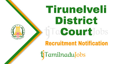 Tirunelveli District Court Recruitment notification 2019, govt jobs for 10th pass, govt jobs for graduate