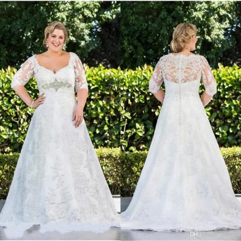 Cheap plus size wedding dress a bridal trendy ideas for Long sleeve plus size wedding dress