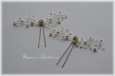 pics chignon mariée roses porcelaine et perles