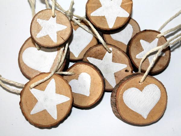 DIY Holzscheiben Stern und Herz