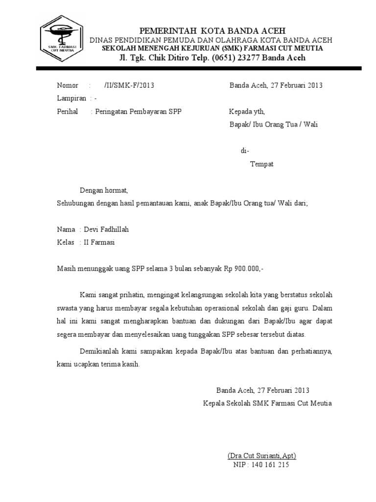 Contoh Format Surat Penagihan Hutang atau Pemberitahuan Tunggakan Perusahaan