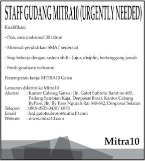 Lowongan Kerja Bali 2018 di Mitra10 Terbaru Mei 2018