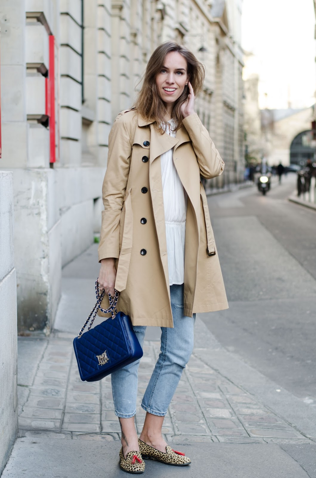 kristjaana mere beige trench coat cropped jeans