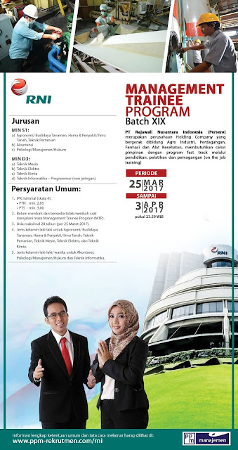 Lowongan Kerja Rekrutmen PT RNI (Persero): Management Trainee Program Batch XIX Tahun 2017