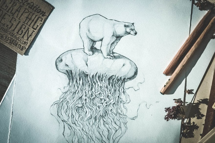 04-The-Polar-Bear-Mike-Koubou-Stylized-Sketchbook-Animal-Pencil-Drawings-www-designstack-co