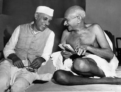 Nehru with Gandhi