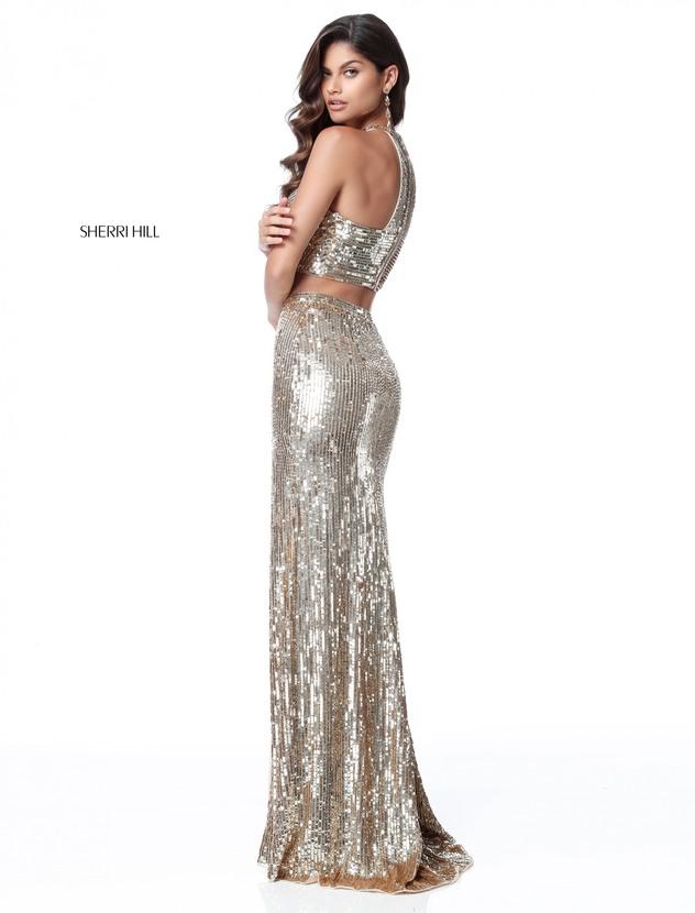 59d7568e680 Rose Gold 2018 Evening Dresses Sherri Hill Style 51662 Beaded