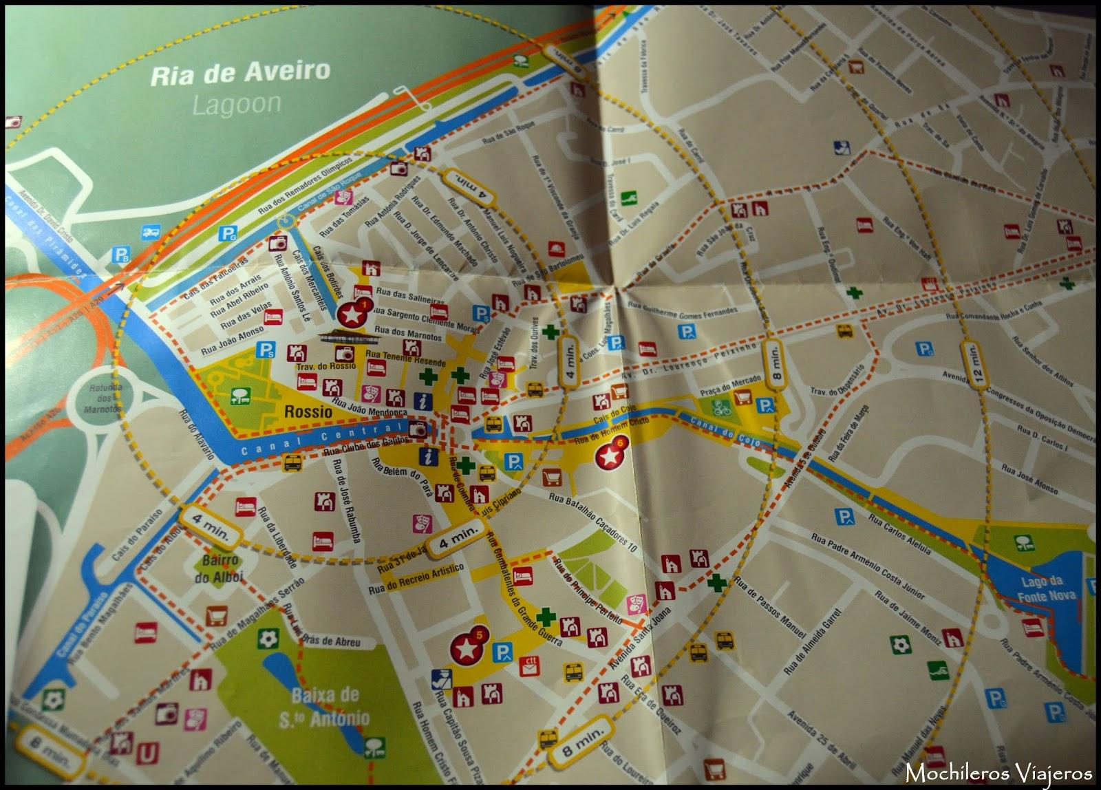 mapa turistico aveiro Aveiro, la Venecia portuguesa | Mochileros Viajeros mapa turistico aveiro