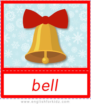 Christmas bell, printable Christmas flashcards for ESL teachers