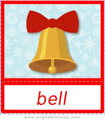 Christmas bell, printable Christmas flashcards for ESL teachers