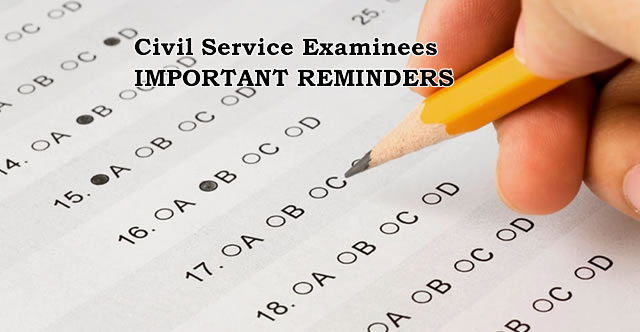 List of Important Reminders for October 18, 2015 Civil Service Examinees