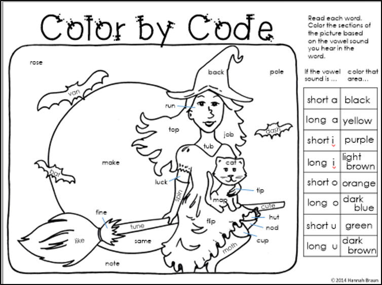 Classroom Freebies Too: Halloween Color by Code