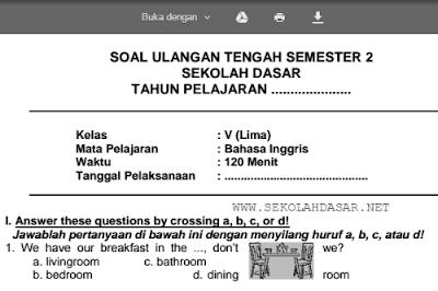 Soal UTS Bahasa Inggris Kelas 5 SD/MI Semester 2