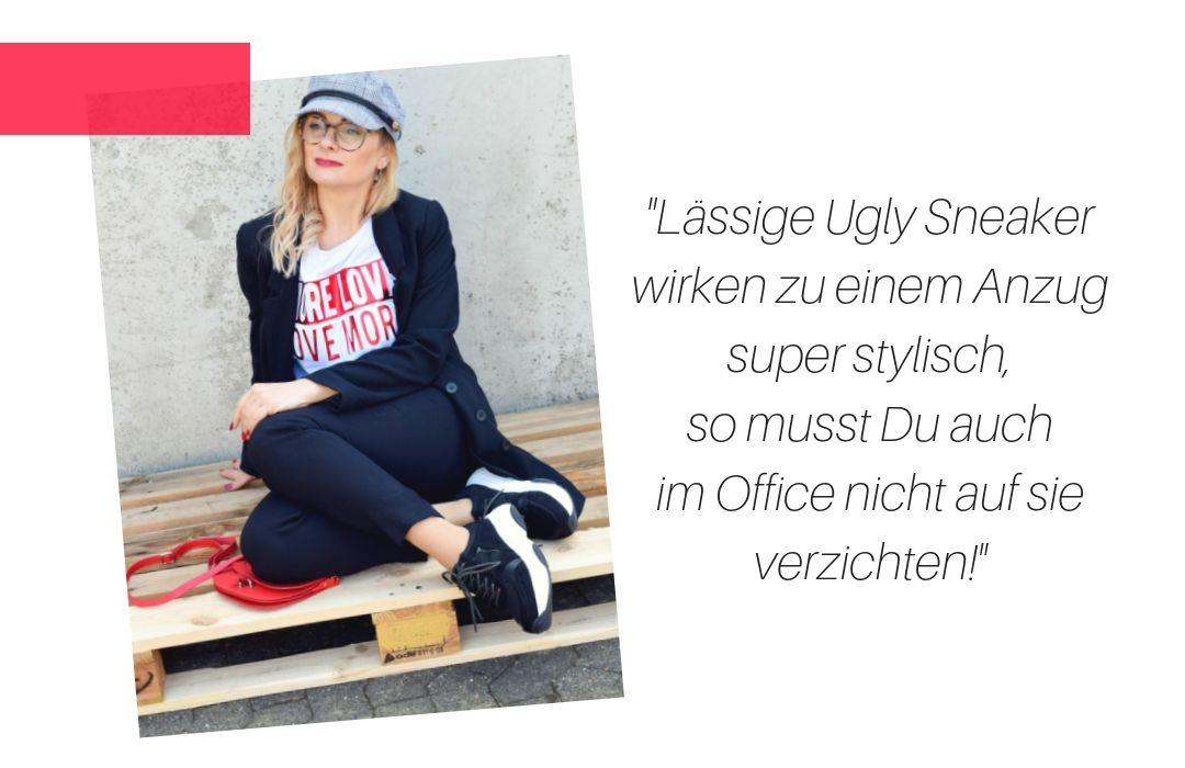 Business Anzug mit Ugly Sneakern kombiniert