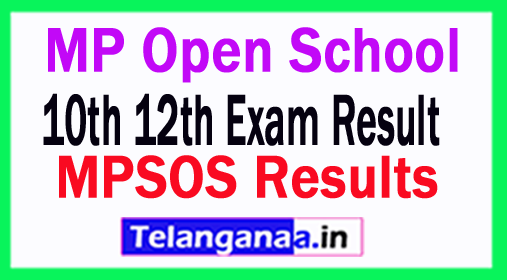 MPSOS Results MP Open School 10th 12th Exam Result 2018