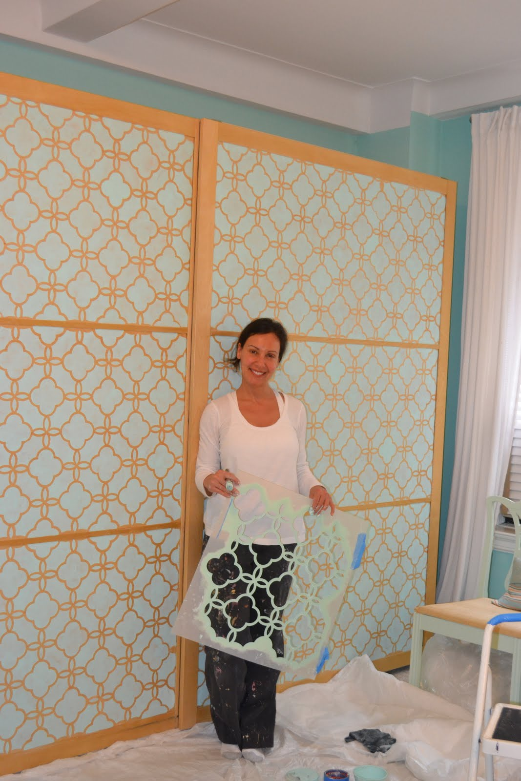 A Stencil Painting Project A Big Ikea Armoire Given A Facelift