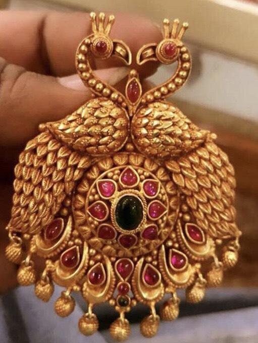 Silver Peacock Pendants and Chandbalis
