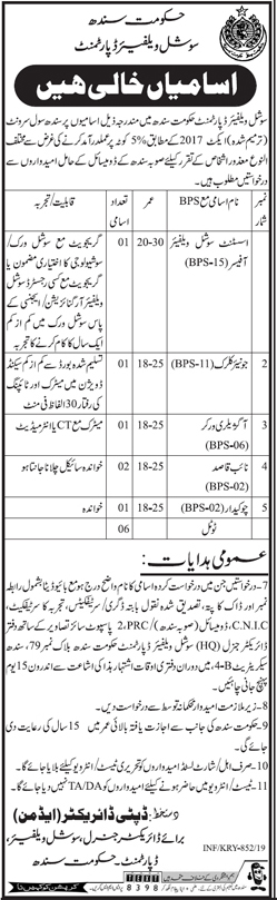 Advertisement for Social Welfare Department Sindh Jobs