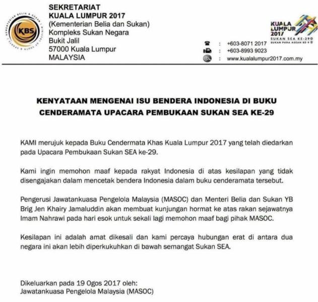 Khairy Jamaluddin Mohon Maaf Isu Bendera Indonesia Terbalik