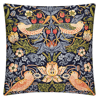 Morris & Co Strawberry Thief Cushion (Indigo)