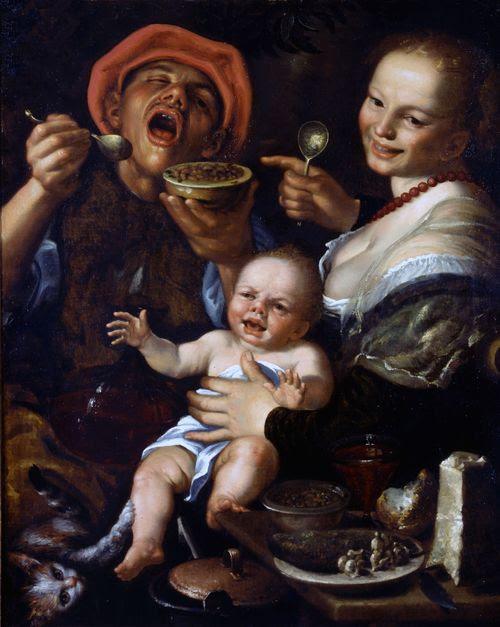 Vincenzo Campi, Mangiatore di fagioli con la famiglia, Collezione privata
