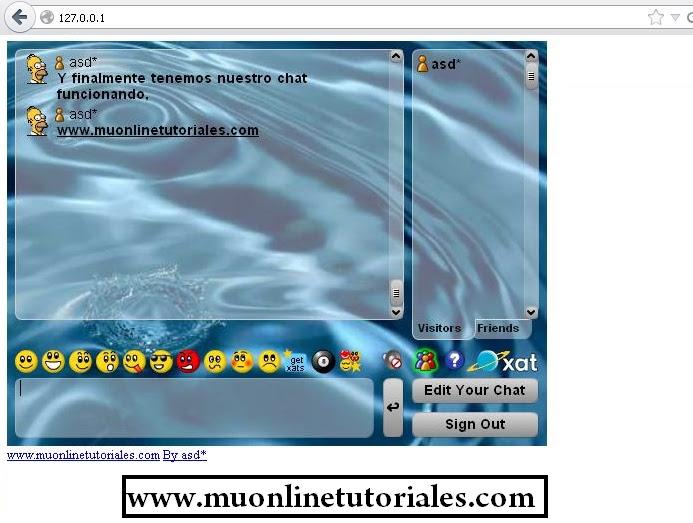 Visualizando xat desde el sitio web mu