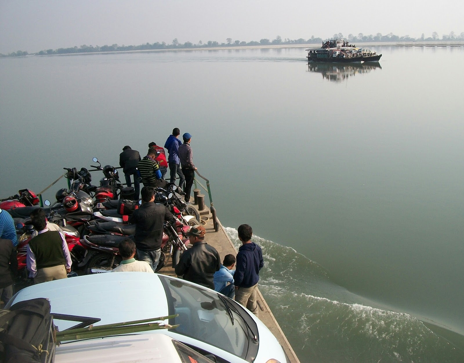 Image of a ferry heading towards Nimatighat, Jorhat. Majuli is only accessible by ferry from Nimatighat and North Lakhimpur.